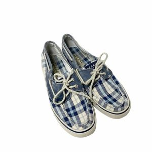 Sperry navy plaid boat shoes